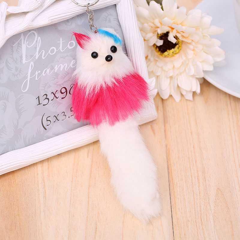 Kawaii ตุ๊กตาสัตว์น่ารัก Fox Keyring Peluche ของเล่นสำหรับเด็กจี้กระเป๋าจี้ Hang จี้ตุ๊กตา & Plush ของขวัญ