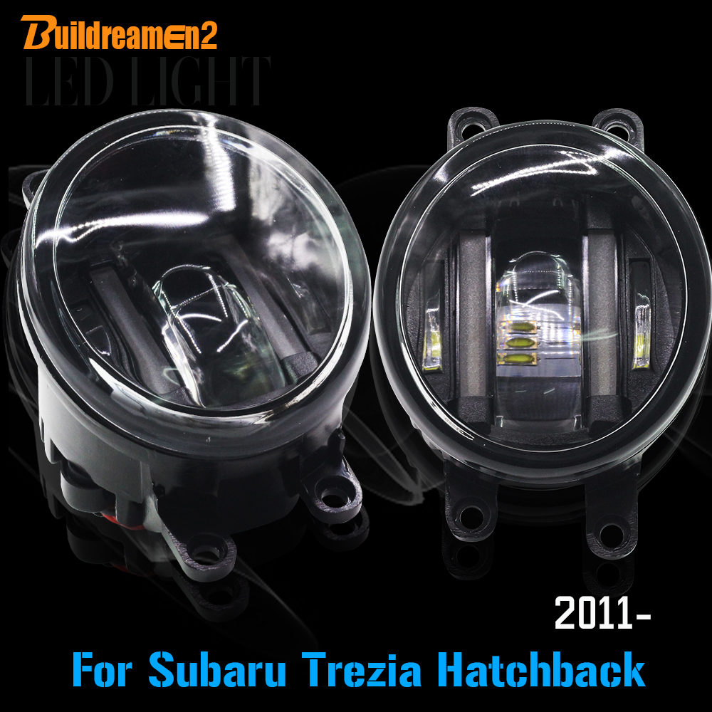 Buildreamen2 2 Pieces Car Styling LED Fog Light Daytime Running Light DRL White For Subaru Trezia Hatchback 1.3 1.4D 2011 Up cawanerl 1 pair car light led fog lamp drl daytime running light white 12v for subaru trezia hatchback 1 3 1 4d 2011 onwards