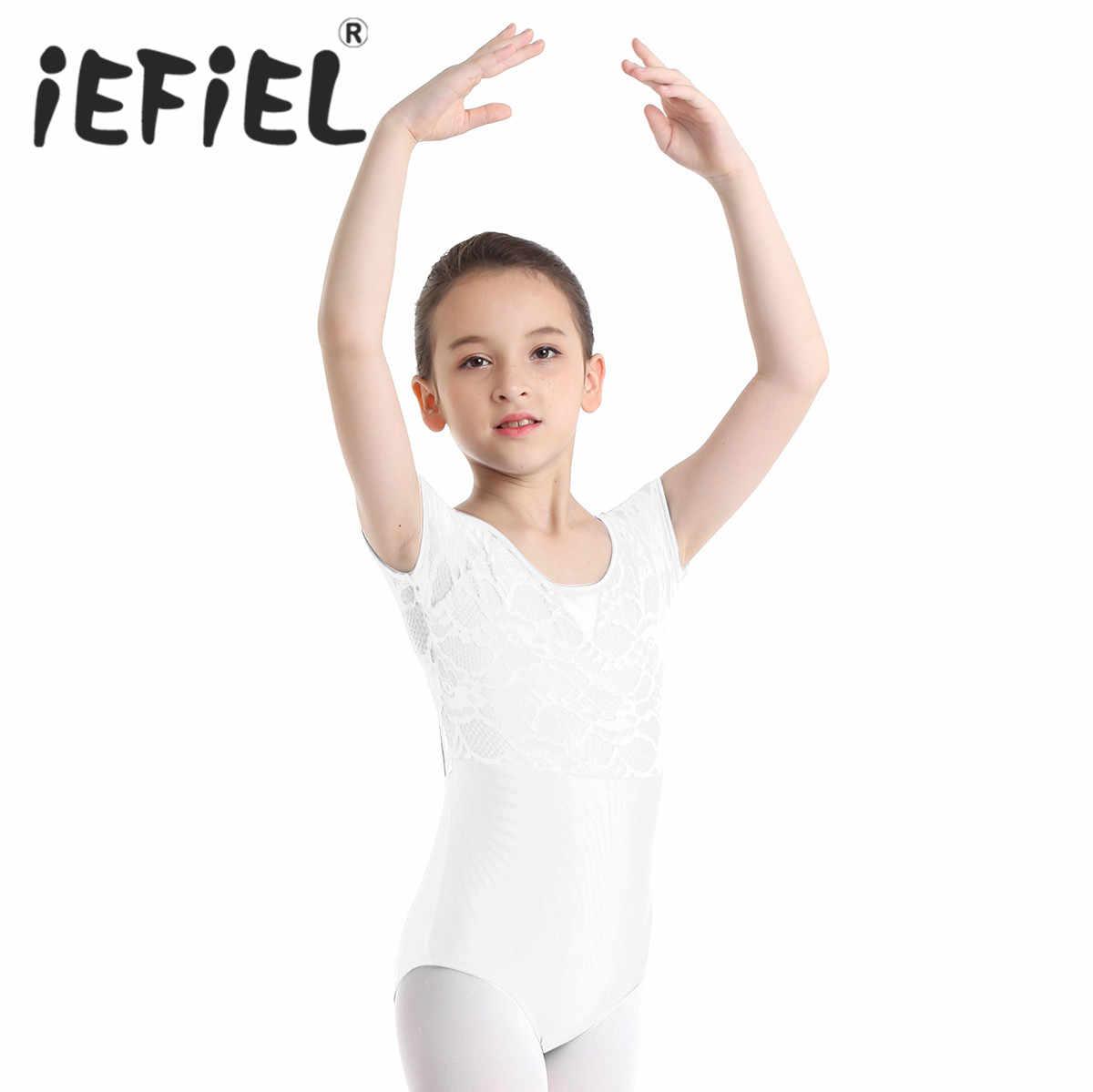 QinCiao Girls Floral Lace Bowtie Back Gymnastics Ballet Dance Leotard Athletic Workout Unitard Jumpsuit Dancewear