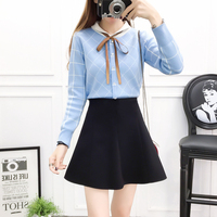new winter skirt Korean fashion suits college twinset sweater bust skirt women pullover ribbons sweater top & short black skirt