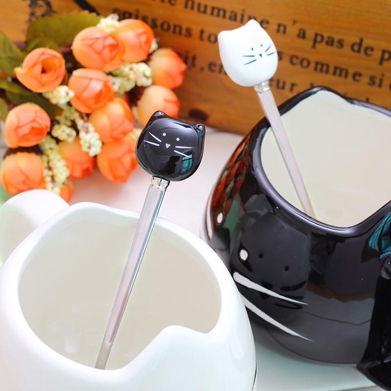 Cute Cat Coffee Mug With Spoon 1