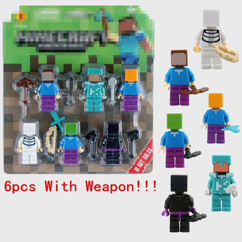 6pcs set Minecraft Toy With Weapons Hanger Action Figures Minecrafted 3D Models Collection Funny Toys For