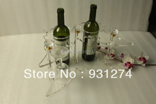 Free Shipping New 2014 Acrylic 2 bottles wine rack with wine glass holder Butterfly wine shelf for creative gift Fashion decor