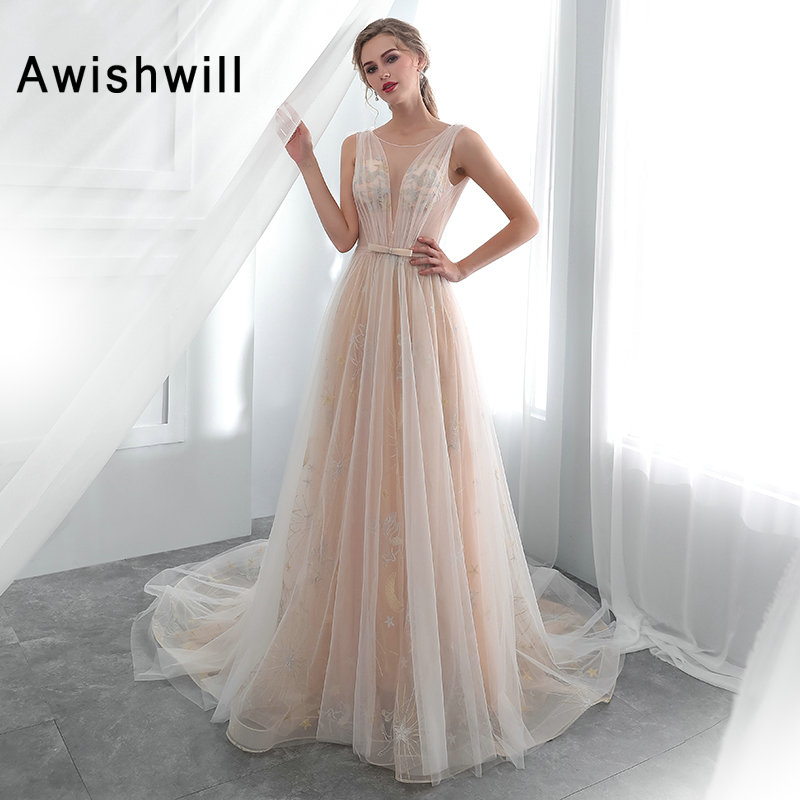 Sexy Prom Dresses Long Women s A line Sleeveless Sweep Train Backless Special Occasion Party Gown