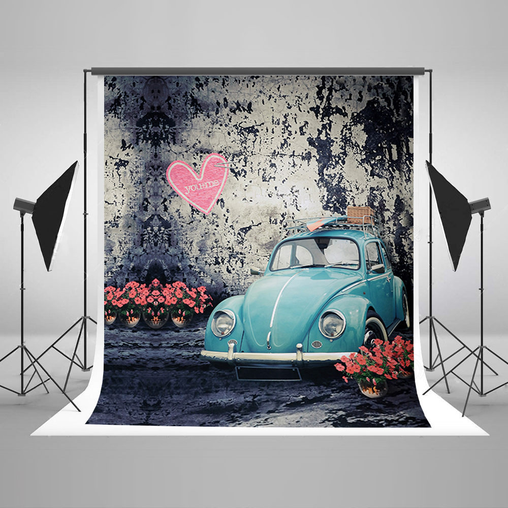 Photography Background Pink Flowers Green Car Photocall for Wedding Pink Love Wall Fond Studio Photo
