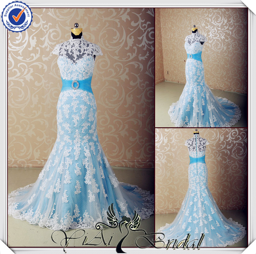Jj3555 halter light blue and white wedding dress with blue for Light blue and white wedding dresses