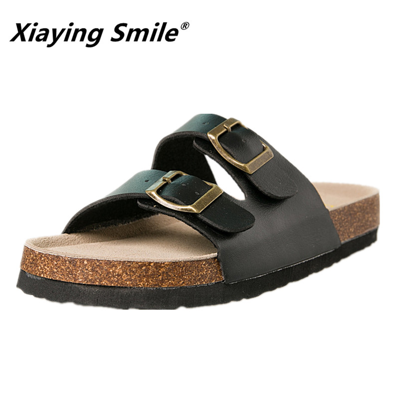 Xiaying Smile New Style Solid Color Genuine Leather Sandals Classics Double Buckle Beach Shoes Fashion Casual Soft Flat Slippers