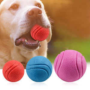 5/6/7Cm Pet Dog Training Toy Ball Indestructible Solid Rubber Ball Chew Play Bite Toy With Carrier Rope Bite Sales Y1(China)