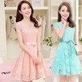 Оптовая продажа бесплатная доставка канада 2016 лето новых корейских женщин тонкий симпатичные платья с кружева шифоновое платье alibaba выразить розовое платье