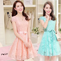 Venta al por mayor envío gratuito canada 2016 verano nueva corea mujeres lindo gasa larga del cordón del vestido de alibaba expreso vestido rosa