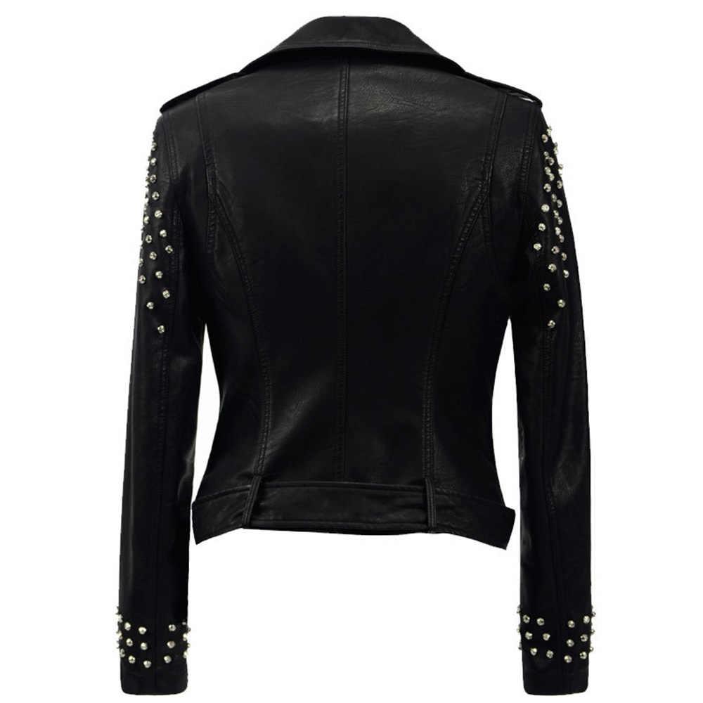 新 2018 秋のファッションリベットオートバイの pu プラスサイズジャケットスタッズ上着ストリートゴシックジャケット
