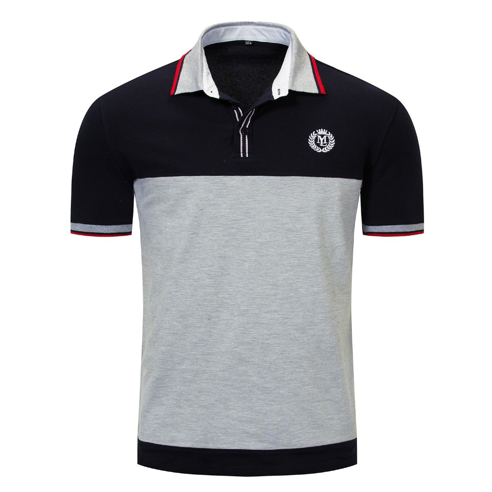 New short polo shirt men brand clothing simple casual patchwork polos male top quality 100% cotton grey