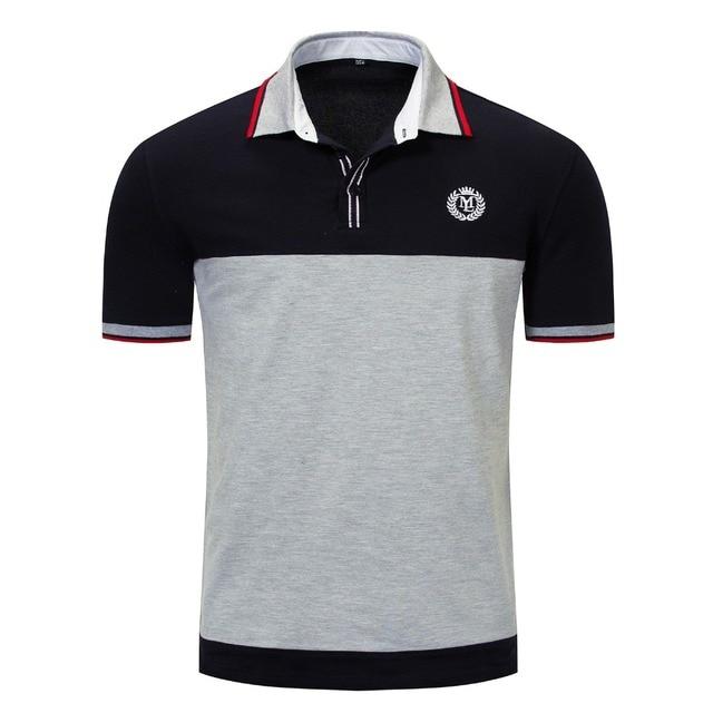 17628c1618 Nova camisa polo curto homens marca de roupas simples casual patchwork polos  top masculino qualidade 100