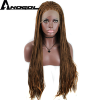 Anogol High Temperature Fiber Hair Long Brown Twists Braided Box Braids Synthetic Swiss Lace Front Wig for African Women