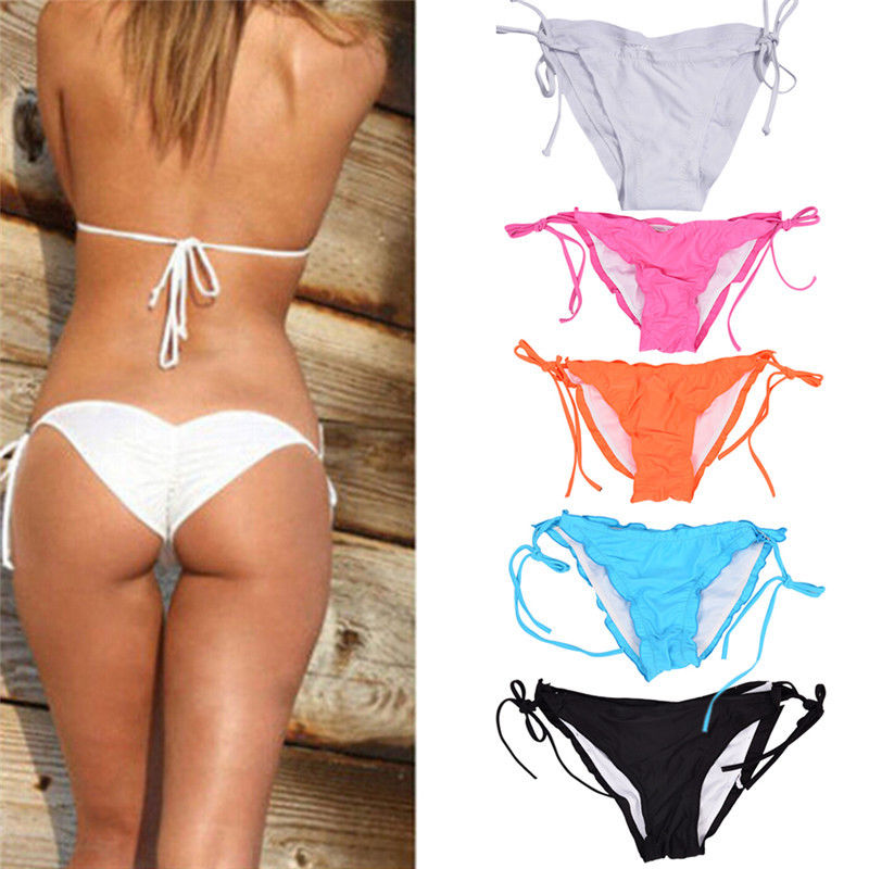 Strict Sexy Brazilian Ladies Tether Bikini Bottom Cheeky Runched Tie-side Swimsuit Swimwear Swimmable Clothing Briefs Bathing Suit