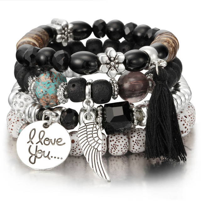 Natural Stone Beads Charm Bracelets For Women