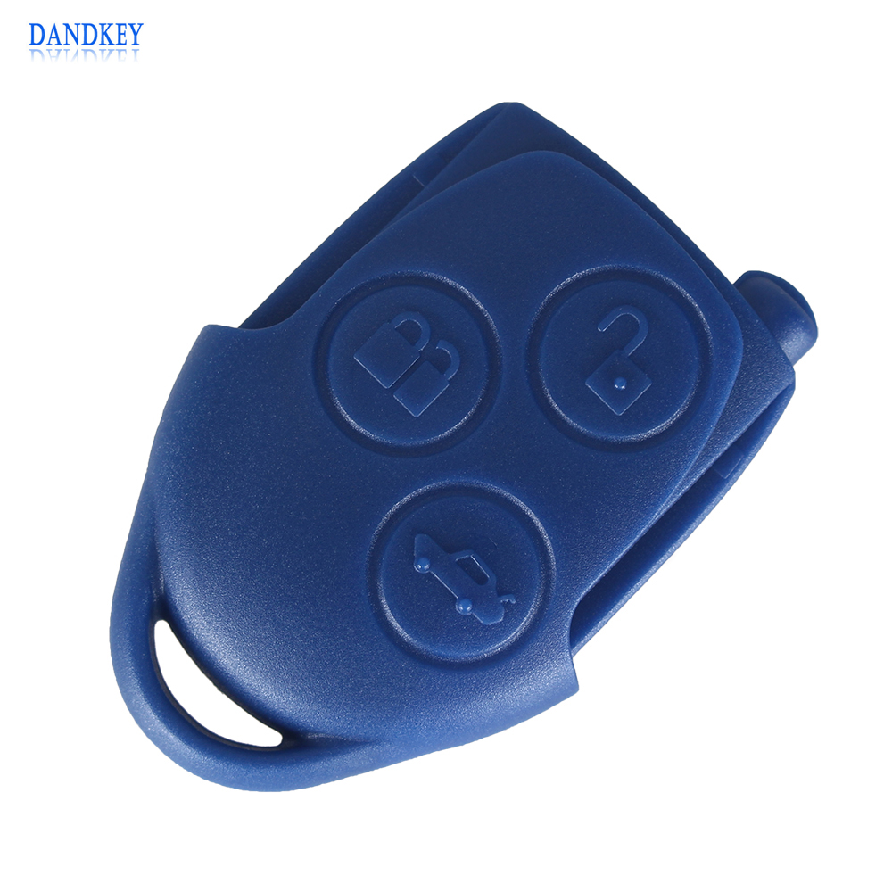 Dandkey 10pcs lot blue 3 buttons remote key for ford transit 433mhz fit for europe