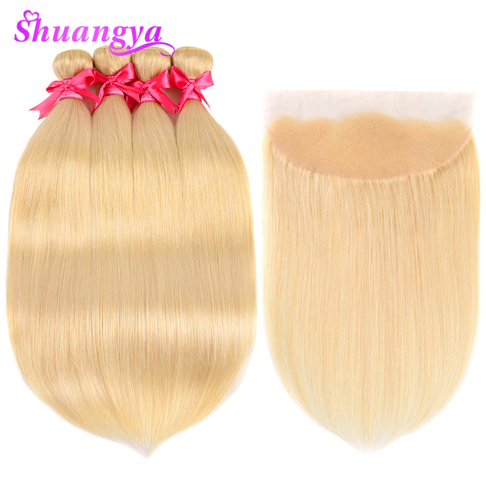 Shuangya Hair Blonde 613 Bundles With Frontal Malaysian Straight Frontal With Bundles Remy Hair Human Hair