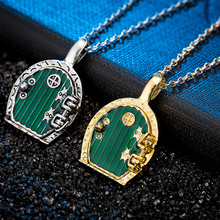 Hot Sell Fashion Jewelry Vintage Charm Green Hobbit Door Locket Pendant Necklace For Men And Women CS904