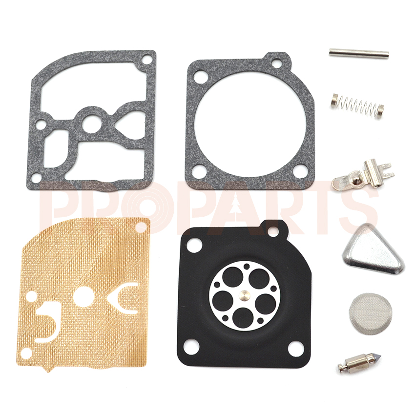 10SET Genuine Zama RB-45 Carburetor Carb Repair Kit fits for Jonsered 2050 / 2045 / 2041 chainsaws 45, 49, 51, 55 and trimmer mo rb 149 carburetor repair kit for husqvarna 235 236 435 chainsaw lawn mower parts w zama carbs dr162 and jonsered cs2234 cs 2238