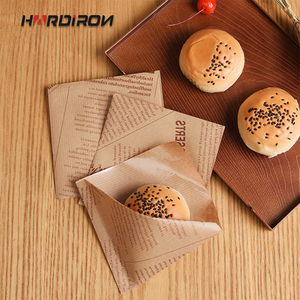 HARDIRON 100PCS White and Brown Disposable Bread Baking Oil-proof Food Craft Bag Sandwich Kraft Paper Bag