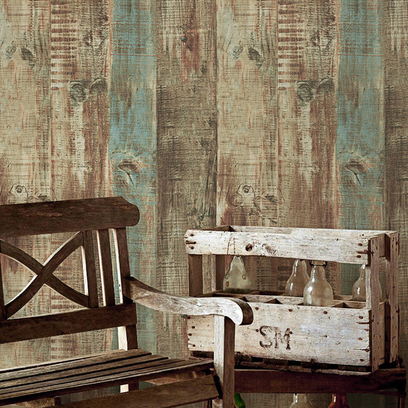 PVC Vinyl Vintage Stripes Wallpaper Industrial Wood Panel Wall Paper Roll Coffee Shop & Bar & Restaurant Wall Decor