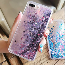 Фотография Love Heart Glitter Sequins Dynamic Liquid Quicksand Phone Case For iPhone 5 Clear Back Cover Capa Coque For iPhone 5s 6 6S 7Plus