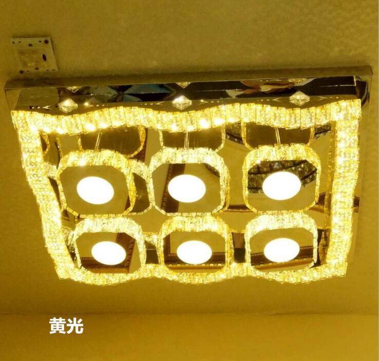 Кристалл лампы гостиной лампы простой Современная атмосфера дома потолочный светильник прямоугольного зала спальни освещения с дистанцио