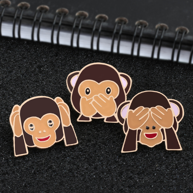 Emoji  Monkey Brooch Pins 1
