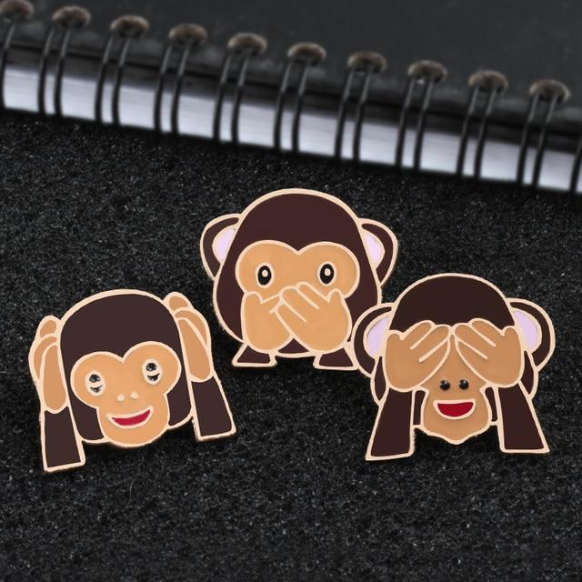 Emoji  Monkey Brooch Pins 1