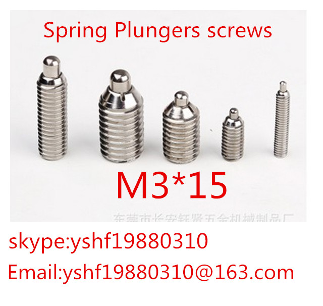 20pcs <font><b>M3</b></font> x <font><b>15mm</b></font> <font><b>M3</b></font>*15 3mm 304 Stainless Steel Hex Socket Spring Pin Plunger Set Screw image