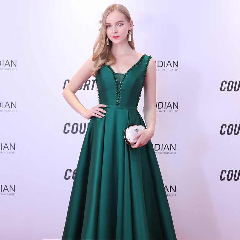 236cf609a04b SSYFashion 2018 New Simple Evening Dress The Banquet Elegant V neck Dark  Green Satin Beading Floor length Sleeveless Party Gown-in Evening Dresses  from ...