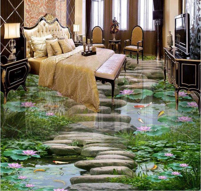 3d floor murals pvc wallpaper Custom 3d floor tiles waterproof wallpaper for bathroom Lotus fish pond floor tiles pictures