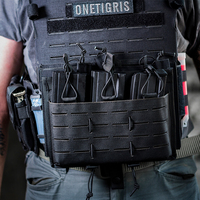 OneTigris MOLLE Lasercut Triple Rifle Mag Pouch Tactical Magazine Pouch For 5.56/7.62 Rifle Mags, ideal for AR/AK etc.