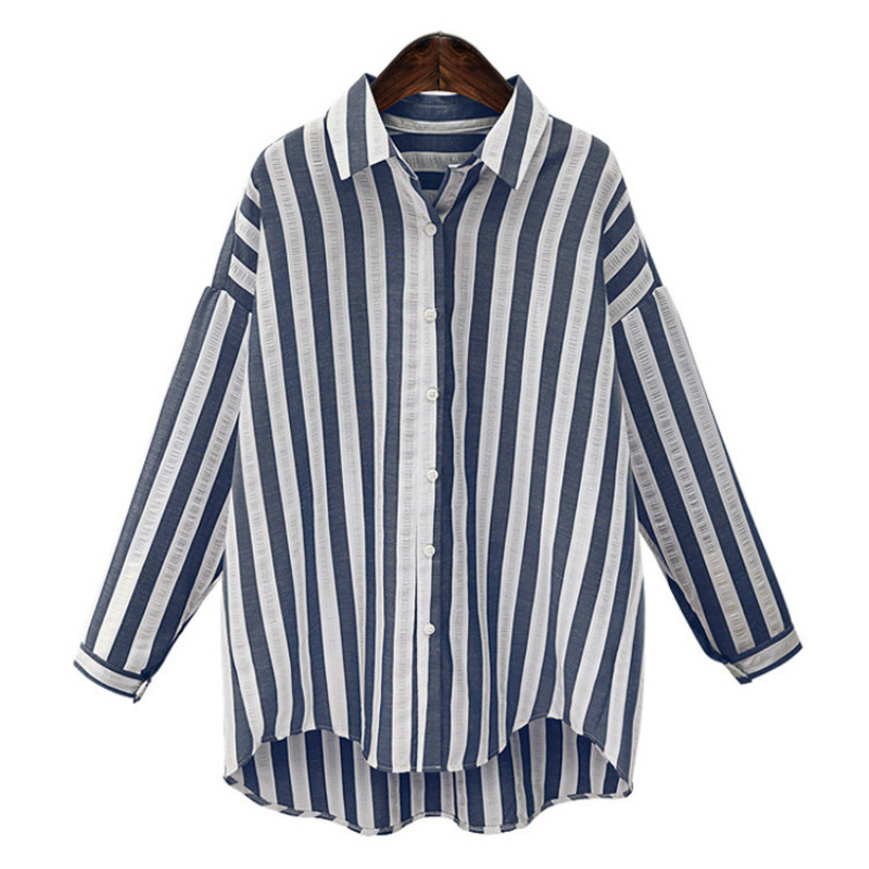 Fashion blue white striped women blouses 2017 summer long for Blue and white striped long sleeve t shirt
