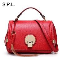 S.P.L. марка красный сумка женская сумочка с кисточкой женщины сумка сумка на плечо мода очарование кожаный сумка