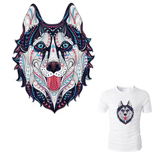 ФОТО husky patches for clothes animal pattern patch a-level washable print on t-shirt jeans sweater 25*19cm