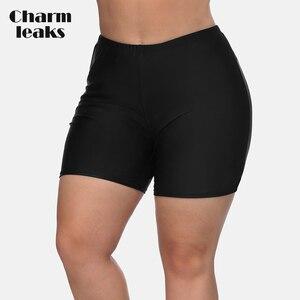 Charmleaks Women High Waist Plus Size Swimming Shorts Ladies Plus Size Bikini Bottom Swimwear Briefs Boardshort Swimming Trunks(China)
