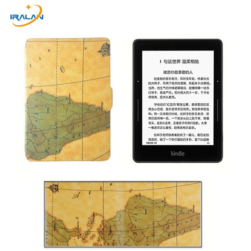 Nouveau Ultra-mince Carte de motif de Cas pour Amazon Kindle 8e 2016 6 génération Ebook PU Couverture En Cuir pour Kindle 558 6.0 + stylus + Film