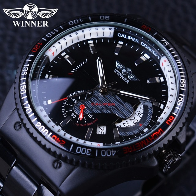 Winner 2017 Racing Design Black Stainless Steel Calendar Display Mens Watches Top Brand Luxury Mechanical Automatic Watch Clock