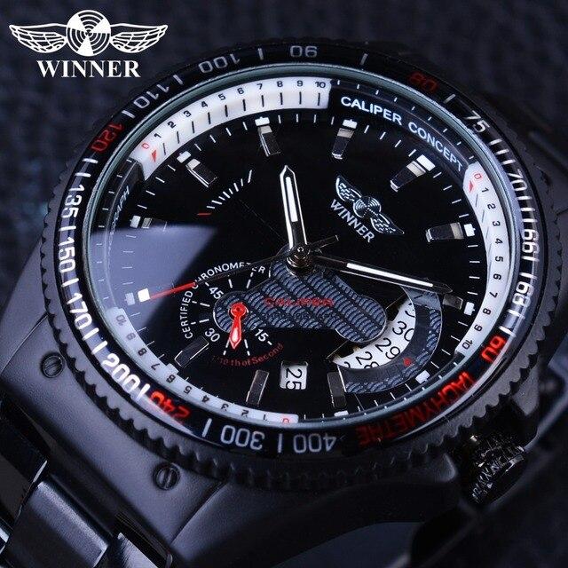 Winner 2017 Racing Дизайн черный Нержавеющаясталь Календари Дисплей мужские Часы лучший бренд класса люкс механические часы