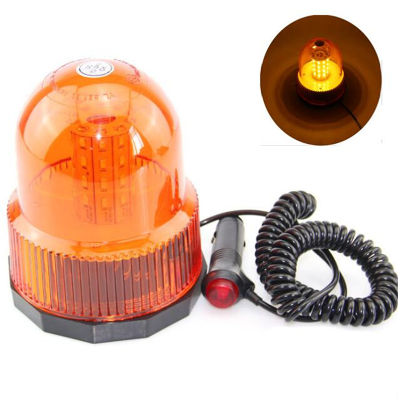 80 LED Red Yellow Car Vehicle Magnetic Mounted Police Strobe Rotating Flashing Warning Light Beacon Flash Emergency Lights
