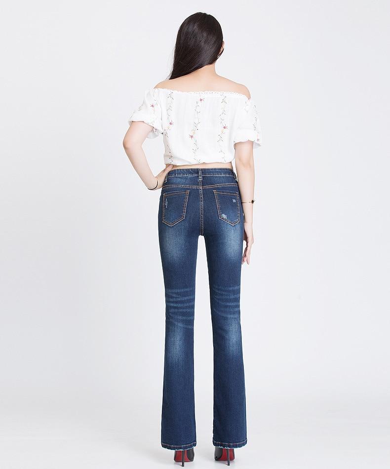 KSTUN FERZIGE Jeans Women Dark Blue Boot Cut Embroidered Hollow Out Flared Pants High Waist Stretch Long Trousers Mom Jeans Push Up 36 15
