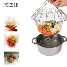 Stainless Steel Mesh Colander Strainer Net Foldable Steam Rinse Strain Basket Fry Basket Kitchen Gadgets Cooking Tools