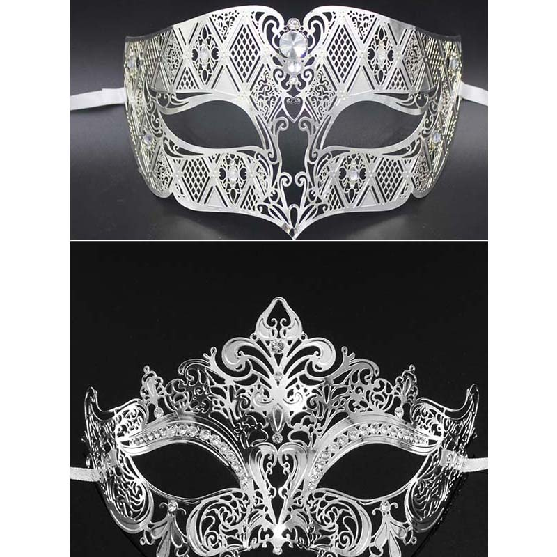 MENS LADIES BLACK WITH CLEAR CRYSTALS VENETIAN MASQUERADE PARTY EYE BALL MASK