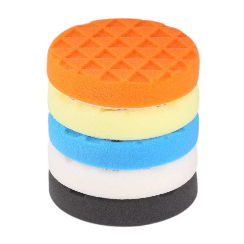 SPTA 5 inch (125mm ) Compound Buffing Pads Polishing Pads Yellow/Red/Blue/Black/White 5Pcs For Car Polisher --Select Color