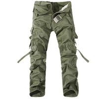 Men Cotton Cargo Pants Multi Pockets decoration Straight Trousers Casual Long Pant Large Size 28-40 Trousers