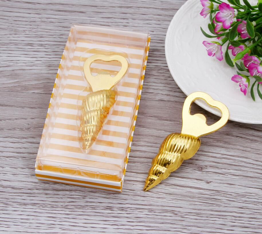 lastest fashion alloy metal vintage gold conch bottle opener summer on beach for Wedding Party favor decor Gift