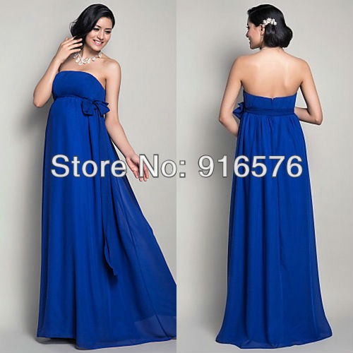 81fe56df28 Royal Blue Empire Sash Bow Casual Wedding Dresses Floor Length Strapless  Long Party Dress Plus Size Maternity Gown