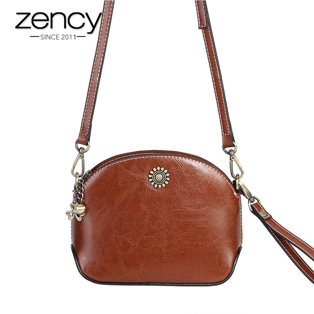 Zency de las mujeres de la moda bolso de 100% bolso de cuero genuino cuero marrón elegante bolso de hombro Simple Mini bolsas de mensajero